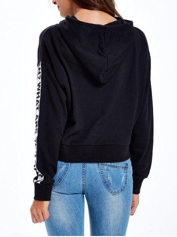 Trendy Graphic Letter Pullover Hoodie - XL BLACK Mobile