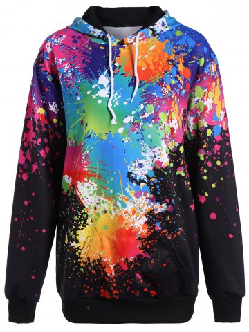 Best Splatter Paint Plus Size Hoodie BLACK 3XL