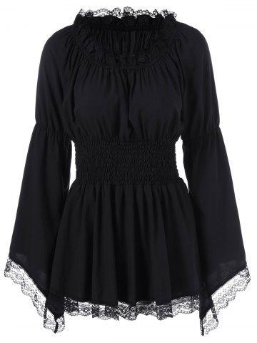 New Bell Sleeve Blouse with Lace Trim