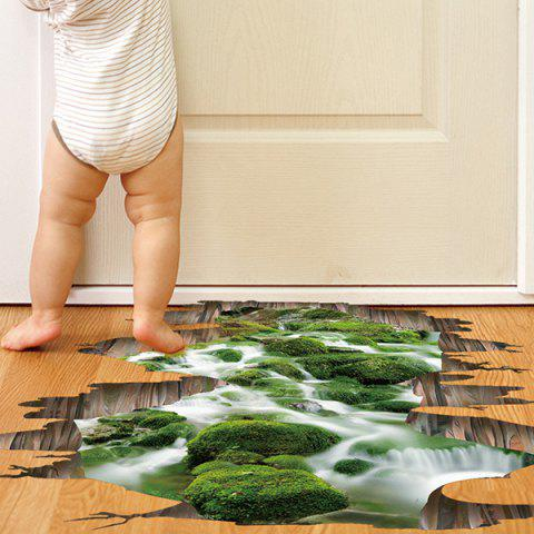 Creative Removable 3D Stream Toilet Floor Sticker - Green