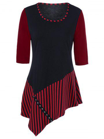 Striped Asymmetrical T-Shirt With Eyelet - Red With Black - Xl