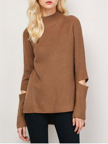 Unique High-Low Cut Out High Neck Sweater