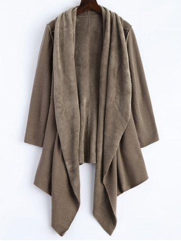 Cheap Open Front Asymmetrical Coat KHAKI 2XL