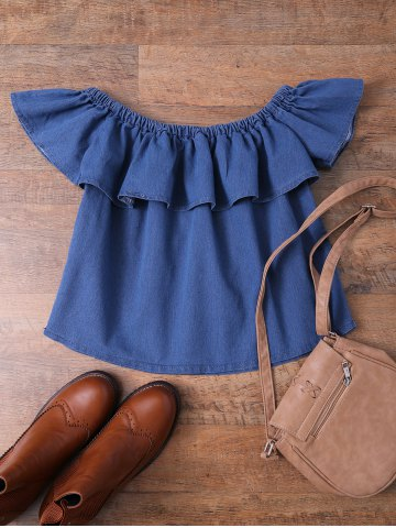 Sale Ruffles Denim Off The Shoulder Top DENIM BLUE S