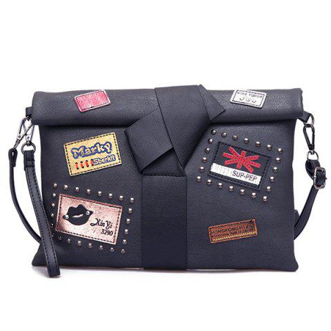 Affordable Patches Rivet Roll Top Clutch Bag - BLACK  Mobile