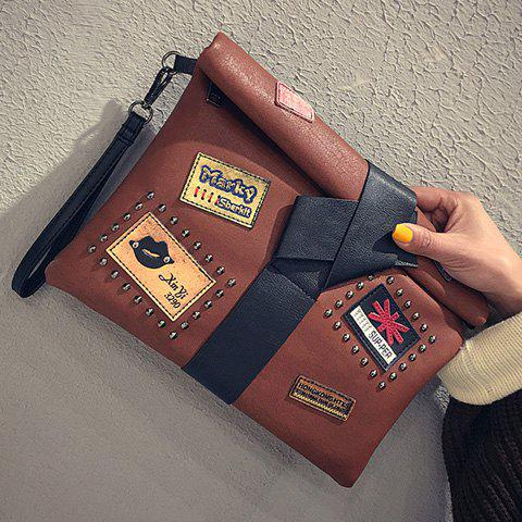 Trendy Patches Rivet Roll Top Clutch Bag - BROWN  Mobile