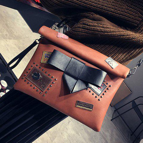Hot Patches Rivet Roll Top Clutch Bag - BROWN  Mobile