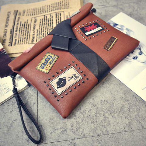 Shops Patches Rivet Roll Top Clutch Bag - BROWN  Mobile