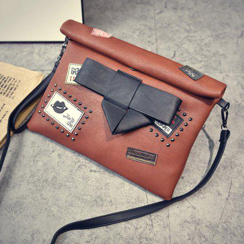 Best Patches Rivet Roll Top Clutch Bag - BROWN  Mobile