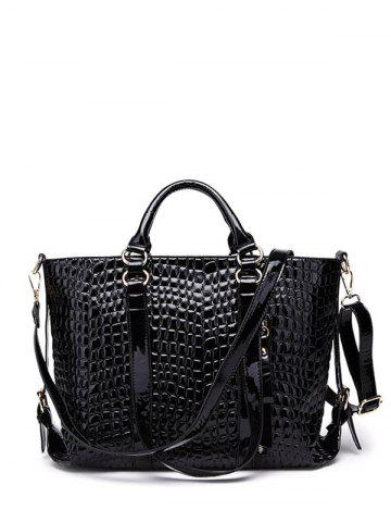 Embossing Zippers Tote Bag - Black