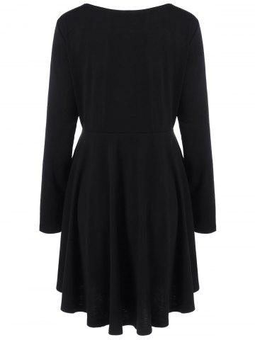 Store Plus Size Lace-Up Bodice Layered Flare Dress - 5XL BLACK Mobile