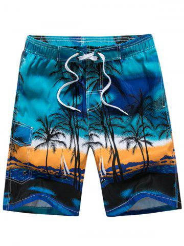 Store 3D Coconut Tree Print Board Shorts BLUE L