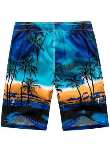 Buy 3D Coconut Tree Print Board Shorts - L BLUE Mobile