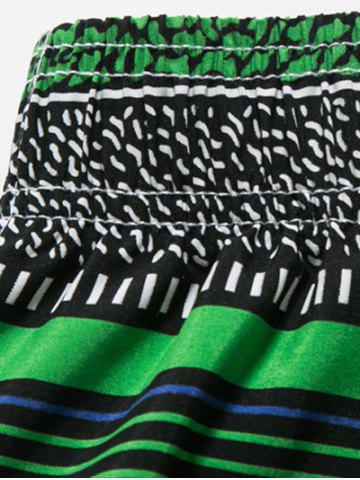 Fancy Striped Polka Dot Panel Print Board Shorts - 3XL BLUE Mobile