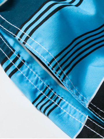 Outfit Color Block Striped Panel Print Board Shorts - L BLUE Mobile