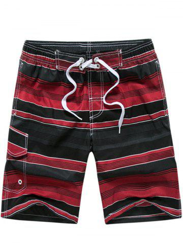 Cheap Color Block Striped Panel Print Board Red Shorts - M RED Mobile