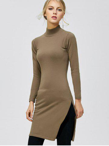 Latest Mock Neck Side Slit Pullover Sweater DARK KHAKI 2XL