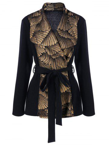 Best Plus Size Sequined Trim Coat with Belt