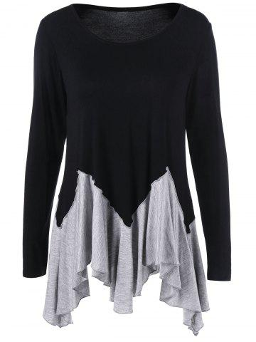 Outfit Asymmetric Two Tone T-Shirt BLACK AND GREY L