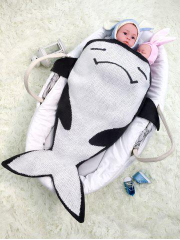 Affordable Cartoon Fish Shape Knitted Unisex Baby Blankets - BLACK WHITE  Mobile