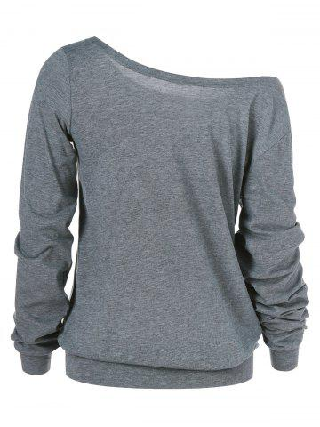 Affordable Skull Print Skew Collar Plus Size Sweatshirt - 3XL GRAY Mobile