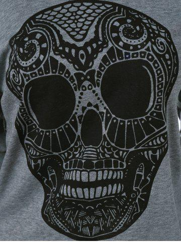Trendy Skull Print Skew Collar Plus Size Sweatshirt - 3XL GRAY Mobile