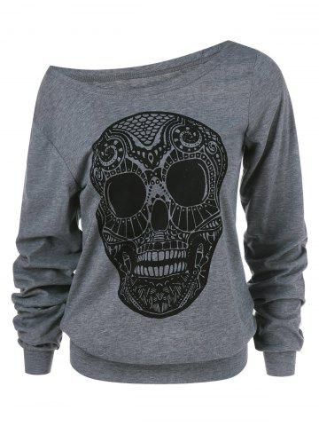 10a64748930 Halloween Skull Print Skew Collar Plus Size Sweatshirt - GRAY