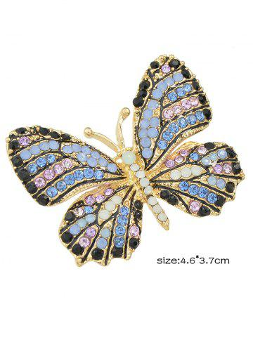 New Rhinestone Studded Butterfly Brooch - BLUE  Mobile