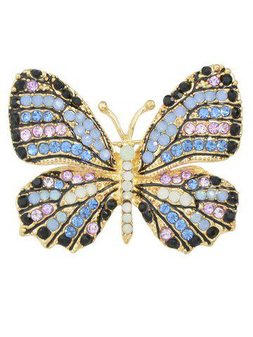 Broche papillon ornée diamants Bleu