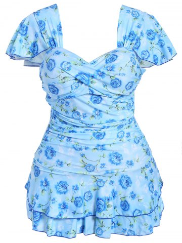 Affordable Refreshing Sweetheart Neck Short Sleeve One-Piece Floral Print Swimwear For Women
