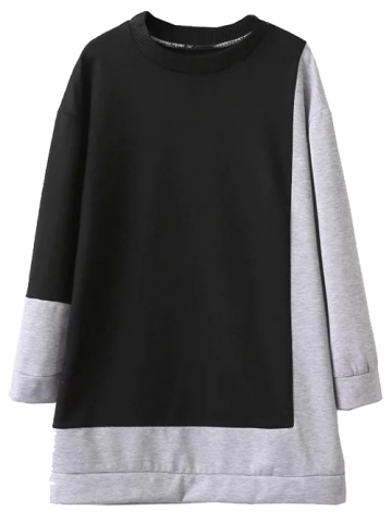 Fashion Color Block Oversized Sweatshirt Dress - M BLACK AND GREY Mobile