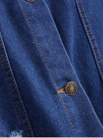 Outfit Ripped Casual Denim Shirt Jacket - S DEEP BLUE Mobile