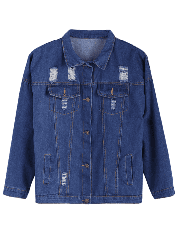 Buy Ripped Casual Denim Shirt Jacket - S DEEP BLUE Mobile