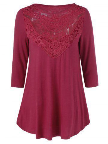 Outfits Tunic Lace Panel T-Shirt