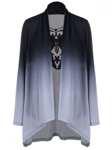 Online Ombre Draped Lace Panel Cardigan