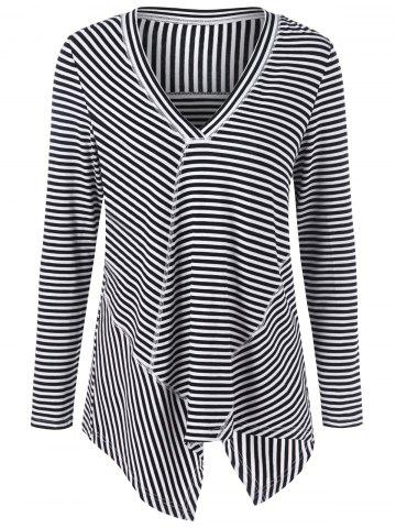 Unique V Neck Stripe Asymmetrical Long Sleeve Top