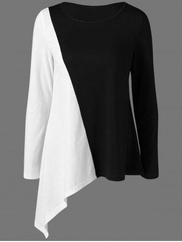 New Long Sleeves Color Block Asymmetrical T-Shirt