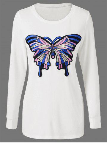 Chic Butterfly Embroidered Fitted Long Sleeve Top WHITE M