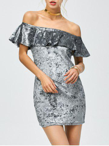 Online Off The Shoulder Velvet Party Dress GRAY S