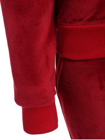 Trendy Embroidered Sweatshirt and Running Jogger Sweatpants - 3XL RED Mobile