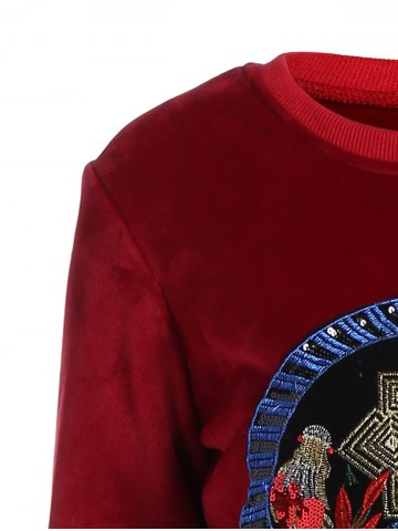 Outfits Embroidered Sweatshirt and Running Jogger Sweatpants - 3XL RED Mobile