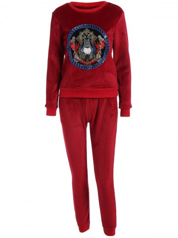 Fashion Embroidered Sweatshirt and Running Jogger Sweatpants - 3XL RED Mobile