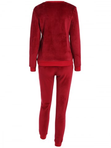 Discount Embroidered Sweatshirt and Running Jogger Sweatpants - 3XL RED Mobile