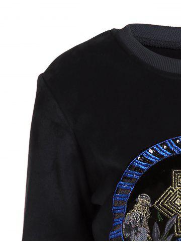 Online Embroidered Sweatshirt and Running Jogger Sweatpants - 3XL BLACK Mobile