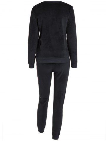 Hot Embroidered Sweatshirt and Running Jogger Sweatpants - 3XL BLACK Mobile