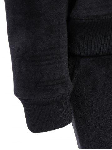 Outfits Embroidered Sweatshirt and Running Jogger Sweatpants - 3XL BLACK Mobile