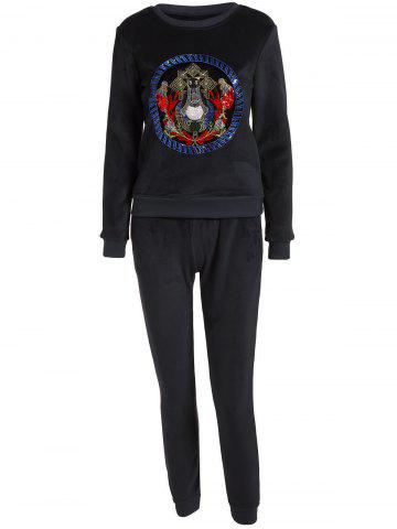 Online Embroidered Sweatshirt and Running Jogger Sweatpants - XL BLACK Mobile