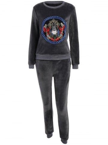 New Embroidered Sweatshirt and Running Jogger Sweatpants - 3XL DEEP GRAY Mobile