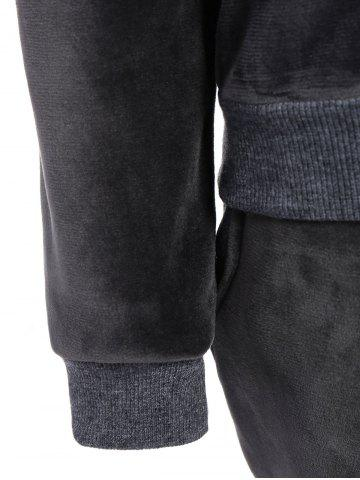 Chic Embroidered Sweatshirt and Running Jogger Sweatpants - 3XL DEEP GRAY Mobile
