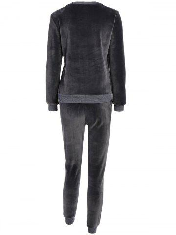 Trendy Embroidered Sweatshirt and Running Jogger Sweatpants - 3XL DEEP GRAY Mobile